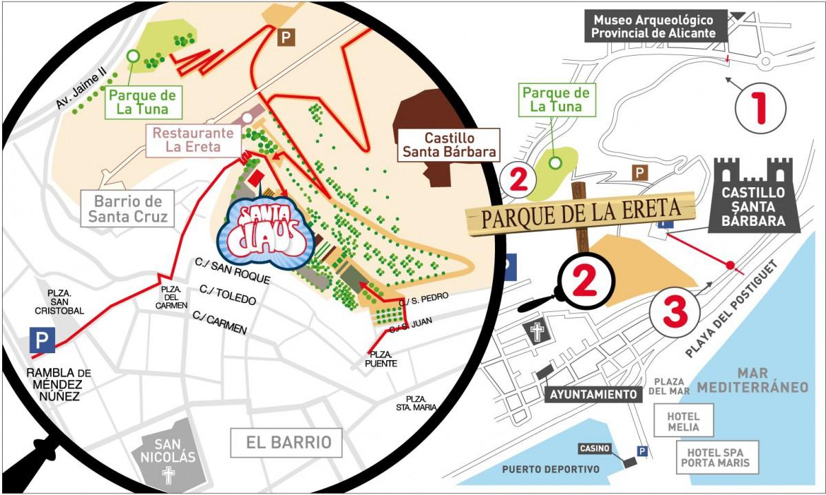 Mapa de La Casa de Santa Claus en Alicante