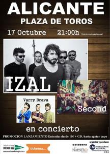 Izal, Second y Barry Brava en concierto en la plaza de Toros. 17 Oct 2015 @ Plaza de Toros de Alicante | Alicante | Comunidad Valenciana | España