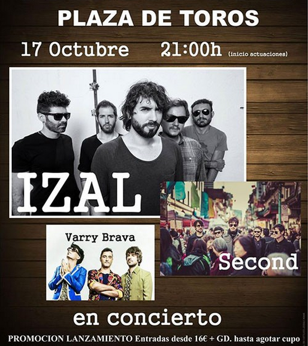 Izal, Second y Barry Brava en concierto en la plaza de Toros. 17 Oct 2015