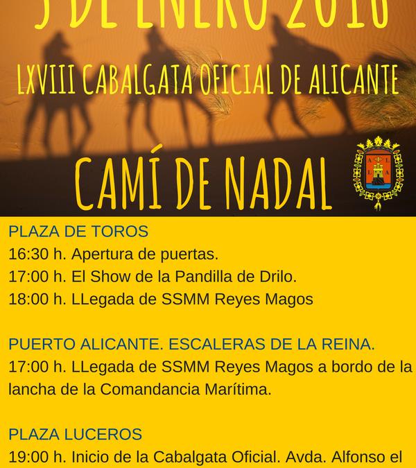 Cabalgata Oficial de los Reyes Magos de Oriente en Alicante