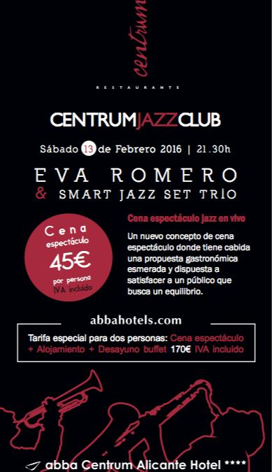 Centrum Jazz Club. Sorprende a tu pareja  el sábado 13 de febrero 2016. Hotel ABBA CENTRUM ALICANTE